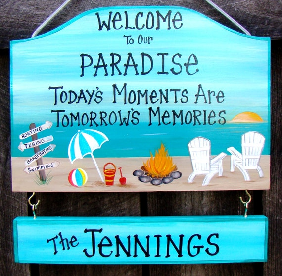 Welcome To Our Beach House Sign: Items Similar To Custom Welcome To Our Paradise Camp