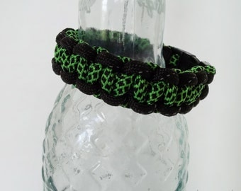 Reflective Black with Lime Green Paracord Bracelet