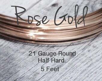 15% Off SALE!! 14K ROSE Gold Filled Wire, 21 Gauge, 5 Feet WHOLESALE, Round, Half Hard
