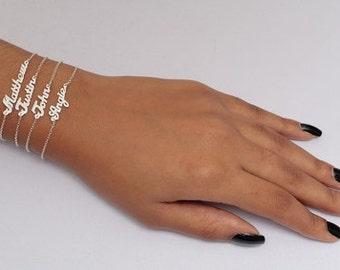 Sterling Silver Mini Name Plate Bracelets (BRC111)-SS