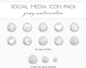 Social Media Icon Set, Gray/Ink Watercolor