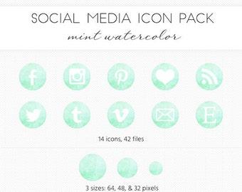Social Media Icon Set, Mint Watercolor