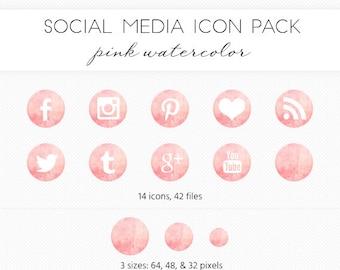 Social Media Icon Set, Pink Watercolor