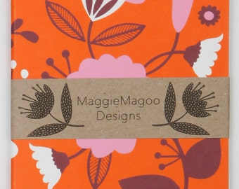 A6 floral notebook by MaggieMagoo Designs. Designed & printed in the UK.
