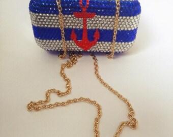 Anchor stripes bling clutch purse