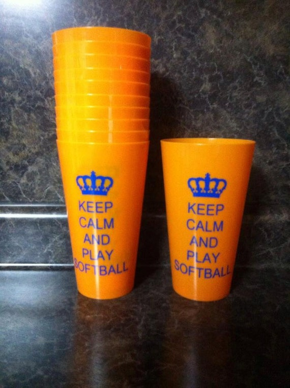 Sale keep calm and play softball vinyl saying on a orange for Vinyl letters for plastic cups