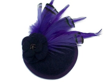 Purple Cocktail Hat Purple Fascinator Hat Purple Hat for races hat purple wedding hat ladies day hat kentucky derby hat purple ascot hat