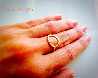Gold Circle Ring | Gold Infinity Ring | Gold Round Ring | Brushed Gold Ring | Gold Geometric Open Circle Ring | Minimalist | Dainty |