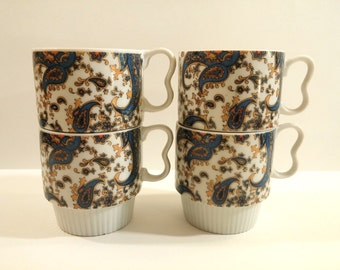 Vintage Stacking Coffee Mugs. Blue and Gold Paisley Design Coffee Cups. Set of Four. Made in Japan. Retro, Mod Kitchen.