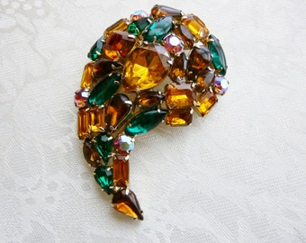 Gorgeous Vintage Amber Emerald AB Rhinestones Chunky Goldtone Brooch Pin Designer Gift Collectible