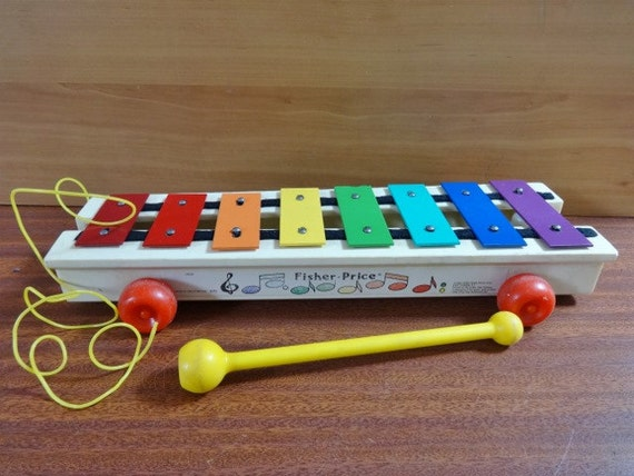Vintage Musical Toys : Vintage wooden fisher price musical toy pull a tune along