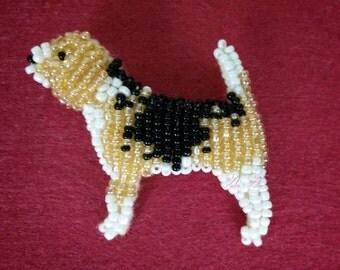 Beagle bead brooch