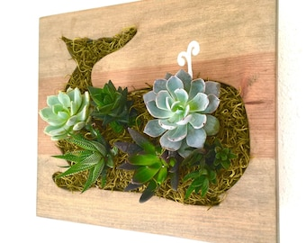CUSTOM COLOR: Whale Succulent + Cacti Vertical Garden | Vertical Planter | Living Wall | Wall Planter | Hanging Planter | Wood Plante