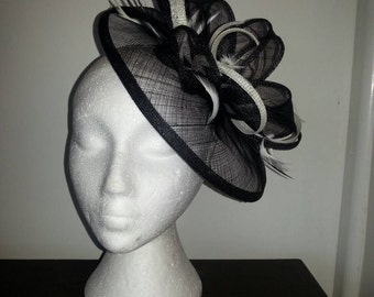 Black and Cream / Ivory fascinator / hatinator for wedding races special occasions