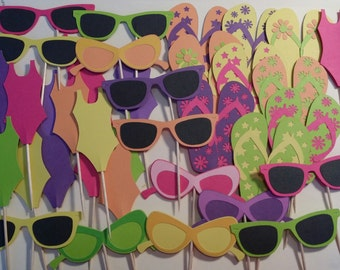 Pool Party Cupcake Toppers - Swimsuits, Sunglasses and Flip-Flop Cupcake Toppers - Pool Party - Birthday Party Cupcake Toppers Set of 12