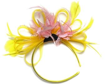 Bright Yellow & Baby Pink Feathers Fascinator on Headband