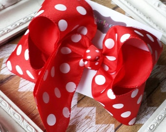 Red Polka Dot Hairbow Large Double Layer Bow