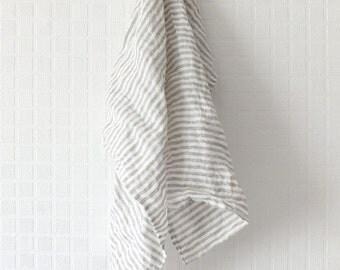 Set of 2 Linen Kitchen towels - Tea towel - Striped Linen hand towel - Dish towel