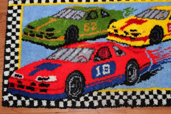 Vintage Bucilla Race Car Latch Hook Rug 29x50