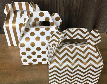 Gold Chevron, Stripe and Polka Dot Wedding Gable Boxes - Favor Box- Party Supply - 36 Ct.