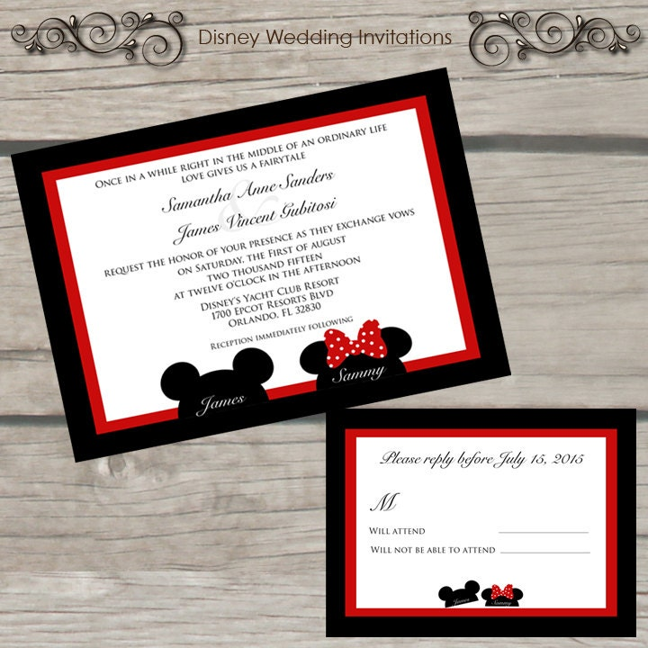 invitation de mariage disney par thelittlestickynote sur etsy. Black Bedroom Furniture Sets. Home Design Ideas