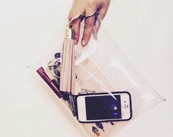 Envelope Clutch - Transparent PVC clutch, medium size clutch - makeup bag - Evening Clutch - Handbag - Purse - Small Pocket Bag