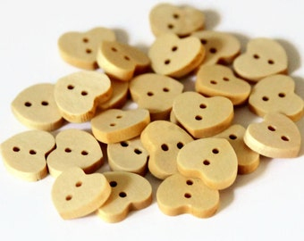 30 Wooden Heart Buttons - 12mm - Natural Buttons - Wood Buttons - Shaped Buttons - Heart Shaped Button - Small Heart Buttons - NW