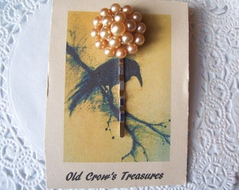 Upcycled Vintage Jewelry Hair Pin (168) - Champagne Pearl Hair Pin - Vintage Pearl Bobby Pin
