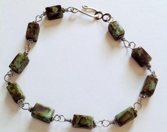 Vintage Czech Picasso glass beaded bracelet