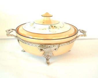 1930s ROYAL ROCHESTER LUSTREWARE Porcelain Covered Serving Dish, Covered Casserole