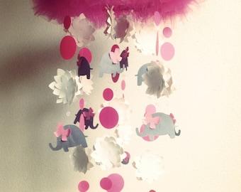 Elephant Crib Mobile - Flower Crib Mobile - Baby Girl Crib Mobile - Pink Elephant Mobile - Pink Flower Crib Mobile