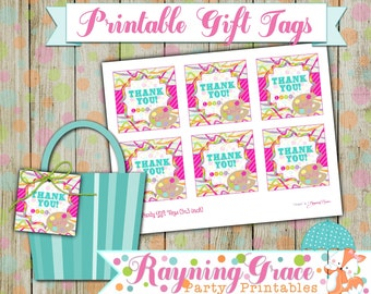 Painting/Art Personalized Thank You Gift Tags for Party Favors (Digital/Printable)