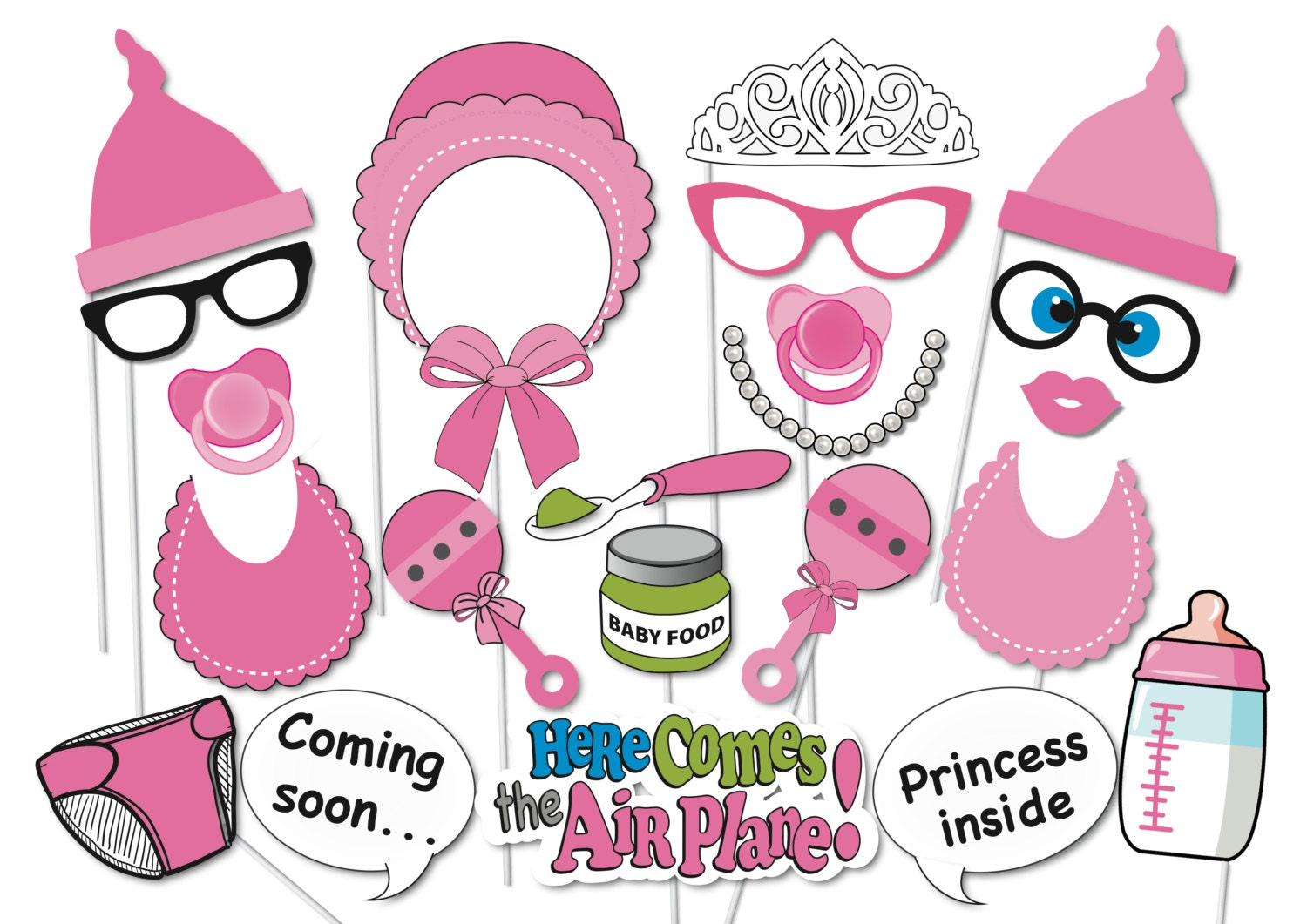 girl baby shower photobooth party props set 26 piece