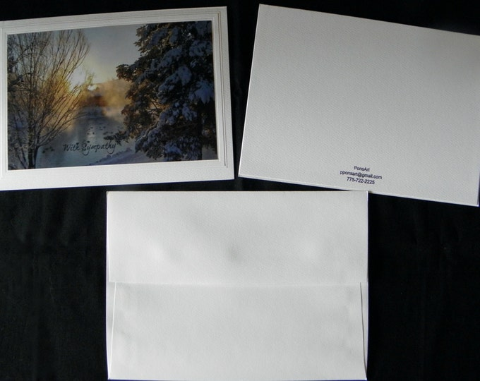 SYMPATHY Greeting Card Handmade, Customized with Text, Choice of Blank Inside Stationary, Sunrise Photographic Art, Coordinating Envelope