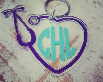 Sale! Stethoscope Key Chain. Perfect for a gift for a Doctor, Nurse, RN, EMT, EMS or anyone in the medical field. Nursing student