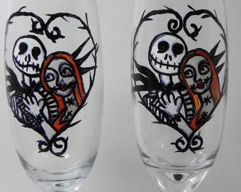 Jack Skellington And Sally Handpainted Champagne Flutes Nightmare Before  Christmas Wedding Anniversary