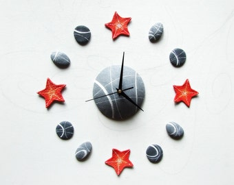 Red starfish wall clock Beach house home decor Unusual wall clock inspired by the sea
