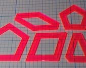 "La Passacaglia- 3/8 inch seam - ""WINDOW"" style - (5 pieces) Acrylic Quilt Templates"