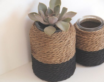 Black Hemp Rope Decorative Vase