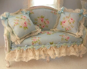 shabby chic sofa etsy. Black Bedroom Furniture Sets. Home Design Ideas