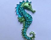 54mm Blue & Green Seahorse Beach Sea Rhinestone Pendant Chunky Necklace Beads
