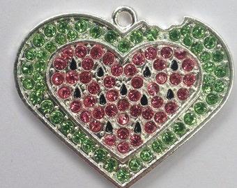 38mm Watermelon Heart Summer Rhinestone Pendant Chunky Necklace Beads