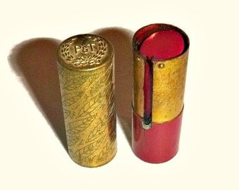Very RARE 1920s Lipstick Flapper Makeup Art Deco Brass Case 30s Red Lipstick Cosmetics Vanity Beauty Collectible Roaring 20s Gatsby Jazz Age