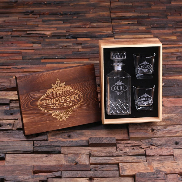 Great Man Cave Gifts : Personalized engraved etched scotch whiskey decanter bottle