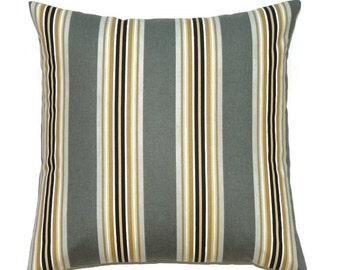 Gray Pillow, 16x16 Pillow Cover, Decorative Pillow, Gold Pillow, Designer Pillow, Modern Pillow Covers, Paramount Graphite