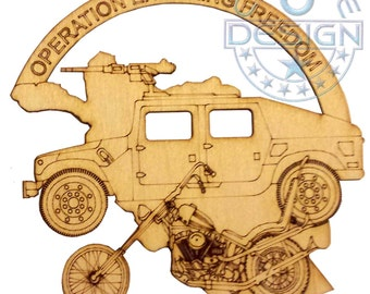 "Operation Enduring Freedon  Biker Ornament 5.25"" Laser Cut"