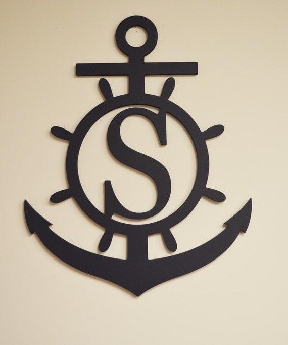 Anchor Monogram Wooden Letters Ship Wheel Monogram Decor