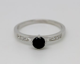 Genuine black diamond Solitaire engagement ring - available in sterling silver or white gold - handmade engagement ring - wedding ring