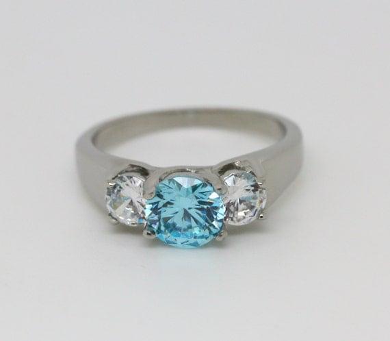 Trellis Trilogy Ring With Genuine Aquamarine By