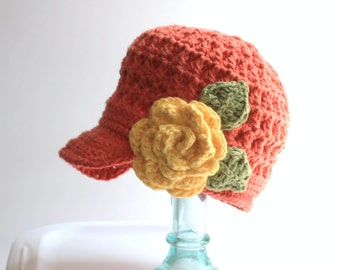 Hat Newsboy | Cotton Crochet | Brimmed Hat | Flower Hat | Childrens Hats | Kids| Summer Hat | Newsboy Cotton Hat | Peaked Cap| Free Shipping